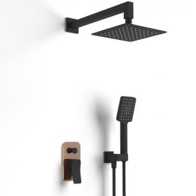 Composition mitigeur de douche encastré noir et doré rose, Hix