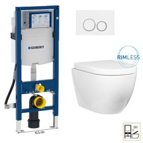 Bâti Geberit Duofix étroit + Plaque de déclenchement blanche + WC suspendu Nino blanc compact - Pack WC suspendu
