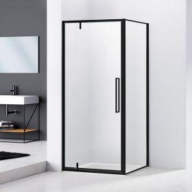 Cabine de douche d'angle 80, 90 ou 100cm, noir mat, Arena Black