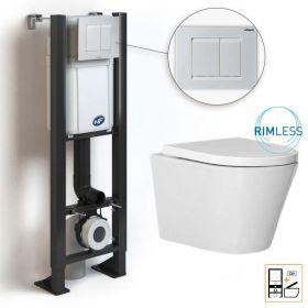 Bâti compact WIRQUIN + Plaque de déclenchement blanche + WC suspendu Vigo Rimless - Pack WC suspendu