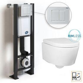 Bâti compact WIRQUIN + Plaque de déclenchement blanche + WC suspendu Alto Rimless - Pack WC suspendu