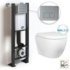 Bâti compact WIRQUIN + Plaque de déclenchement alu brossé + WC suspendu Nino Rimless - Pack WC suspendu