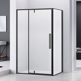 Cabine de douche d'angle 120 à 140 cm, noir mat, Arena Black