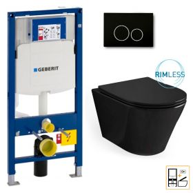 Bâti Geberit Duofix Sigma + Plaque de déclenchement noire + WC suspendu Vigo noir - Pack WC suspendu