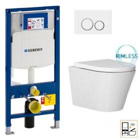 Bâti Geberit Duofix Sigma + Plaque de déclenchement blanche + WC suspendu Vigo Rimless - Pack WC suspendu