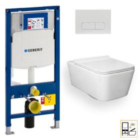 Bâti Geberit Duofix Sigma + Plaque de déclenchement blanche + WC suspendu Tozza - Pack WC suspendu