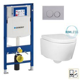 Bâti Geberit Sigma 112cm + Plaque de déclenchement chromée + WC suspendu Alto blanc compact - Pack WC suspendu