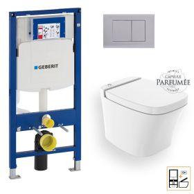 Bâti Geberit Sigma 112cm + Plaque de déclenchement chromée + WC suspendu Infinity Essences - Pack WC suspendu