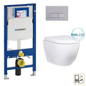 Bâti Geberit Sigma 112cm + Plaque de déclenchement chromée + WC suspendu Nino blanc compact - Pack WC suspendu