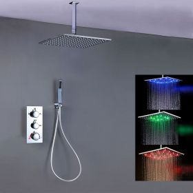 Composition de douche thermostatique, ciel de pluie 40x40 cm avec chromothérapie, Chrome, Colours