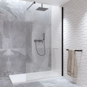 Paroi de douche fixe 120 cm, verre 8 mm, profilé noir, Rimini
