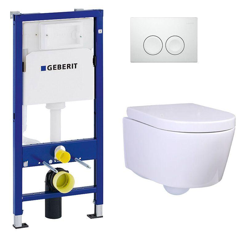Bâti Geberit Duofix Basic + Plaque Delta21 blanche + WC suspendu Alto blanc compact - Pack WC suspendu