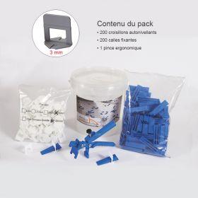 Kit croisillons autonivelants 3MM X200 pince metal