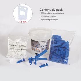Kit croisillons autonivelants 1.5MM X200 pince metal