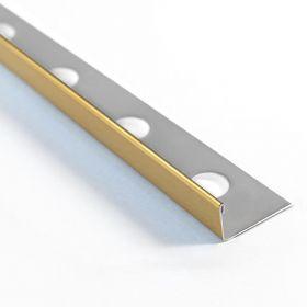 Profilé inox poli en L 10mm x 260cm, doré