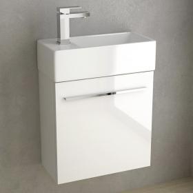 Meuble lave-main, 50x25 cm, Blanc brillant, Mini