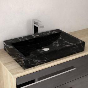 Vasque rectangulaire marbre noir avec plage, 60x40 cm, Crea