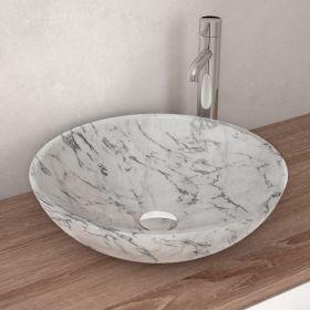 Vasque à poser ronde en marbre carrara, 42 cm, Sensa