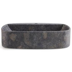 Vasque à poser en marbre gris 52x42 cm avec percement, Adelaïde