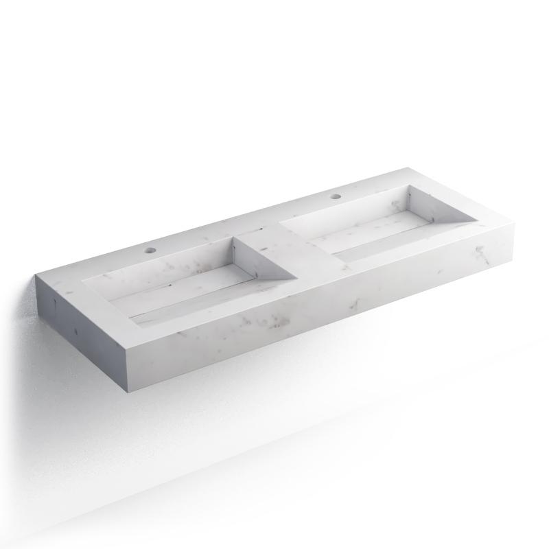 Plan double vasque salle de bain suspendu, pierre Calacatta, 121x46 cm