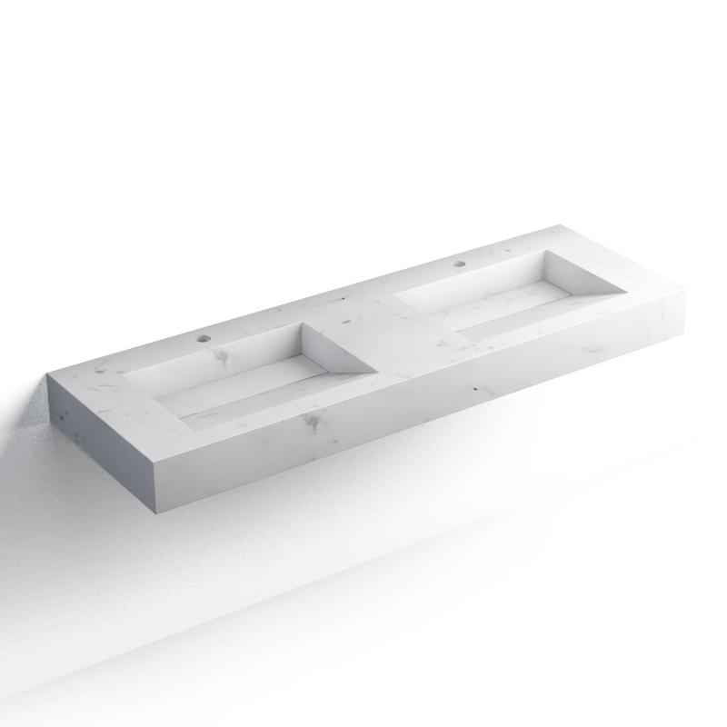 Pierre Calacatta, plan double vasque salle de bain suspendu 141x46 cm