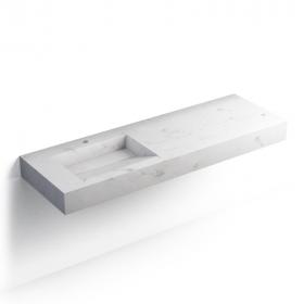 Pierre Calacatta, Plan vasque salle de bain suspendu 141x46 cm, vasque gauche ou droite