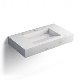 Pierre Calacatta Plan vasque salle de bain suspendu 81x46 cm