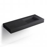 Plan vasque salle de bain suspendu 121x46 cm, vasque gauche ou droite, pierre Pizarra