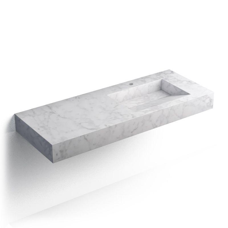 Pierre Carrara Plan vasque salle de bain suspendu 121x46 cm, vasque gauche ou droite