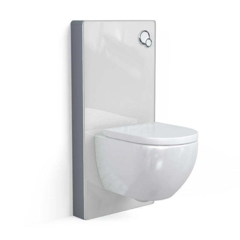 Bâti autoportant panneau verre blanc, Elo + Plaque double touches blanche + WC suspendu compact, Nino