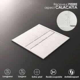 Receveur De Douche Calacata, 90x90 cm, Apolo central