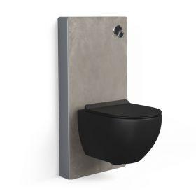 Bâti autoportant panneau déco carrelage Reims Taupe, Elo + Plaque double-touches noire + WC suspendu noir mat, Vera