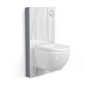 Bâti autoportant panneau déco carrelage Daren blanc, Elo + Plaque de déclenchement blanche + WC suspendu compact, Nino