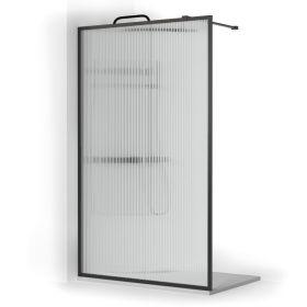 Paroi de douche fixe verre cannelé avec profilé noir mat, 80 à 120 cm, Walk In