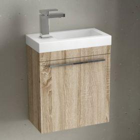 Meuble lave-mains bois et vasque en résine blanche, 44cm, Mini