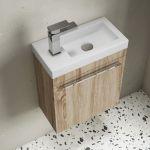 Meuble lave-mains bois et vasque en résine blanche brillante, 44cm, Mini