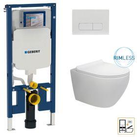 Bâti Geberit Duofix Extra-Plat + Plaque de déclenchement blanche + WC suspendu Vera Rimless - Pack WC suspendu