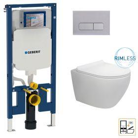 Bâti Geberit Duofix Extra-Plat + Plaque de déclenchement chrome + WC suspendu Vera Rimless - Pack WC suspendu