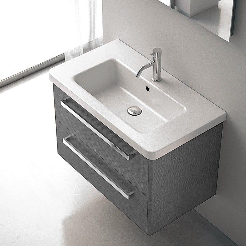 Meuble salle de bain gris 80 cm 2 tiroirs plan c ramique for Meuble salle de bain 80 cm