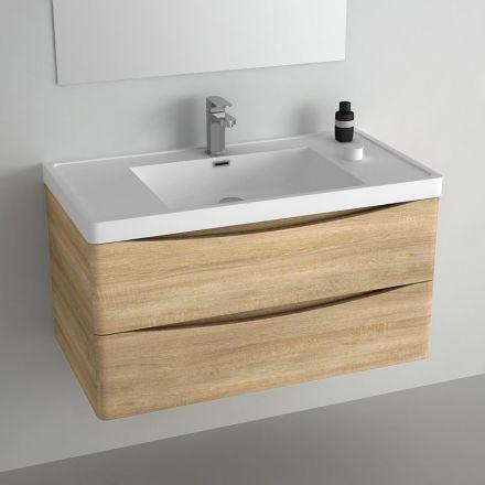Meuble salle de bain 90 cm ch ne 2 tiroirs plan for Meuble salle de bain nature