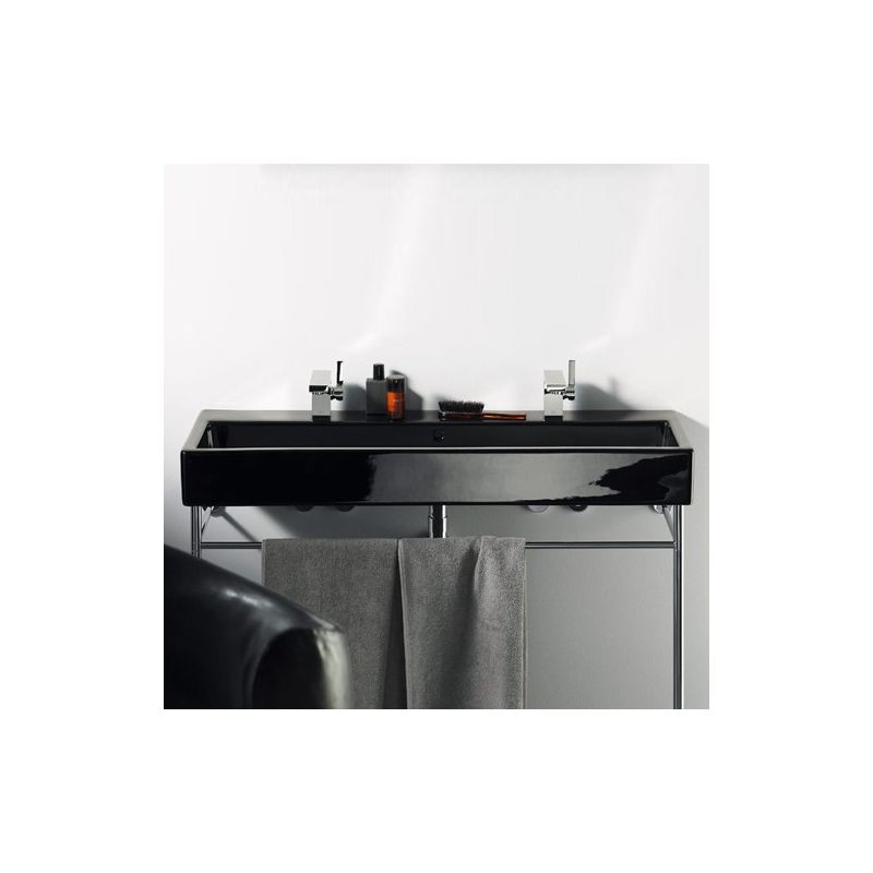 lavabo vero noir sur console m tallique. Black Bedroom Furniture Sets. Home Design Ideas