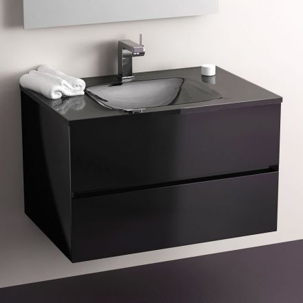 meuble salle de bain noir 75 cm 2 tiroirs plan verre glass. Black Bedroom Furniture Sets. Home Design Ideas