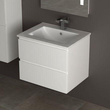 Meuble cardo laque blanc 60 cm - Meuble sous lavabo blanc laque ...