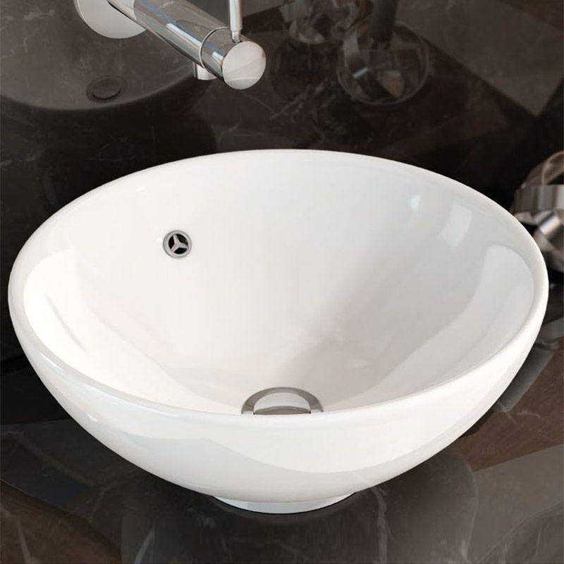 Vasque à poser Balea ronde 40 cm, avec trop plein, céramique,