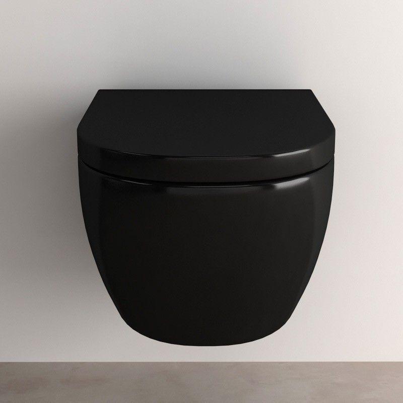 wc suspendu pisa noir abattant. Black Bedroom Furniture Sets. Home Design Ideas