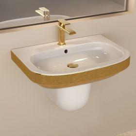 Lavabo suspendu Gold + demi colonne 59x39 cm, céramique