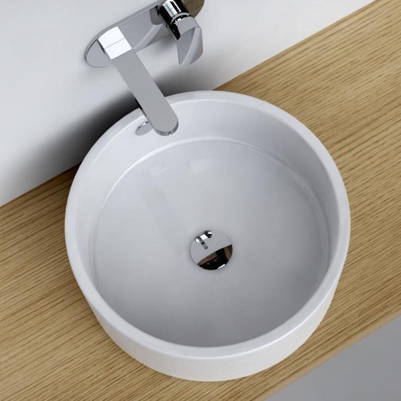 vasque poser ronde 41 cm c ramique pure. Black Bedroom Furniture Sets. Home Design Ideas