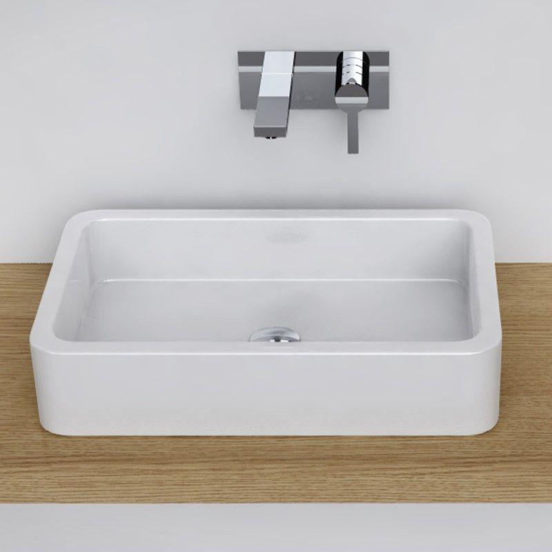 Vasque poser rectangulaire 58x36 cm c ramique pure for Vasque cuisine a poser