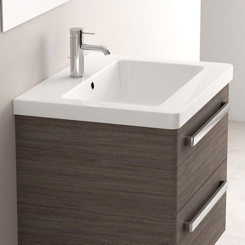 Meuble salle de bain gris c rus 62 cm plan c ramique easy for Meuble vasque 60 cm salle bain