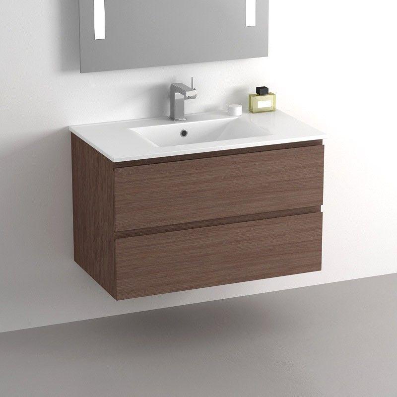 Meuble salle de bain 80 cm noyer 2 tiroirs plan for Meuble de salle de bain 80 cm